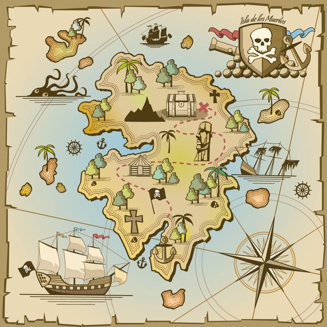 手绘古代海盗藏宝地图设计素材图片
