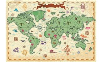 复古世界地图上各国的地