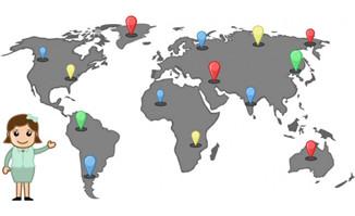 世界地图上显示公司所到