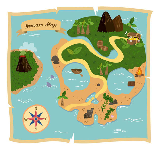 骷髅造型的海岛地图海盗藏宝图设计