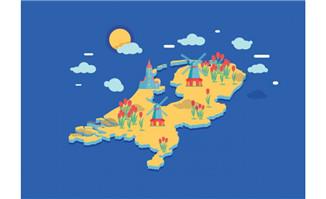 平面背景荷兰立体感地图