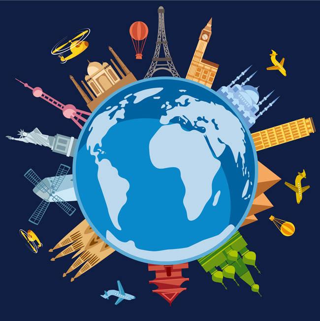 各种建筑物,扁平素材   着名建筑物设计  飞机  地球矢量素材  环球
