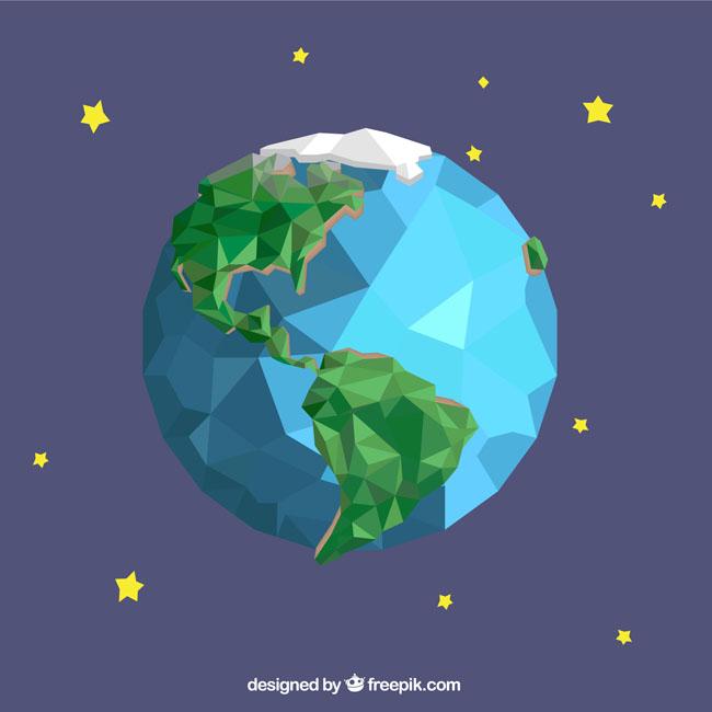 几何创意造型的地球设计几何体地图板块