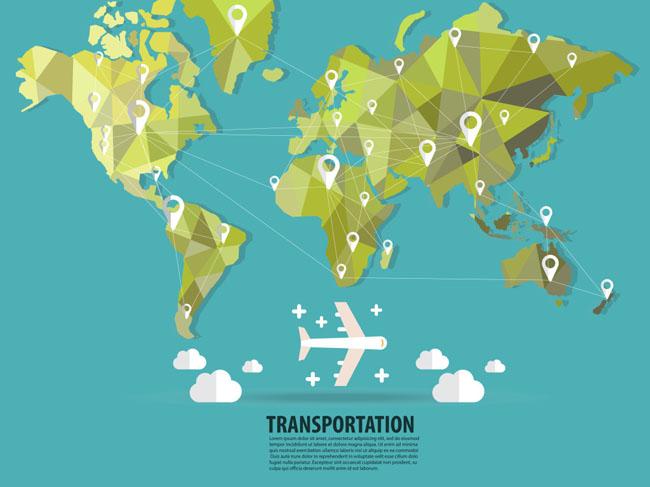 扁平化世界地图创意几何体造型设计