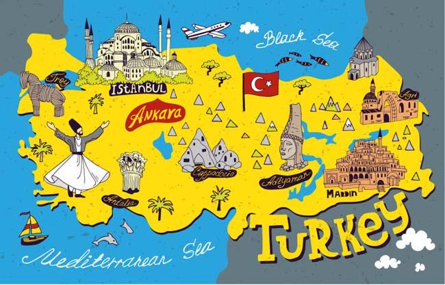 卡通手绘旅游地图,景点地图设计,矢量素材   沿海城市  海岛国家