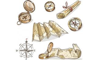 手绘航海地图指南针各种