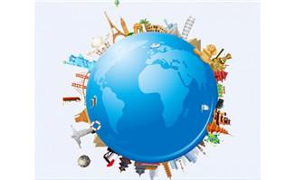 创意卡通地球上各种建筑物设计著名建筑旅游景