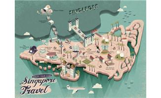立体模型的旅游地图旅行