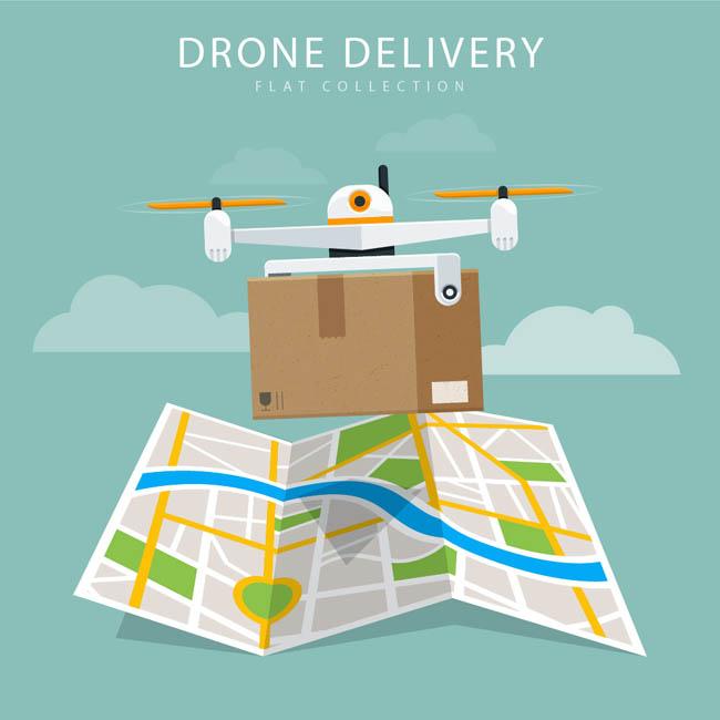 无人机送快递创意组合地图矢量素材