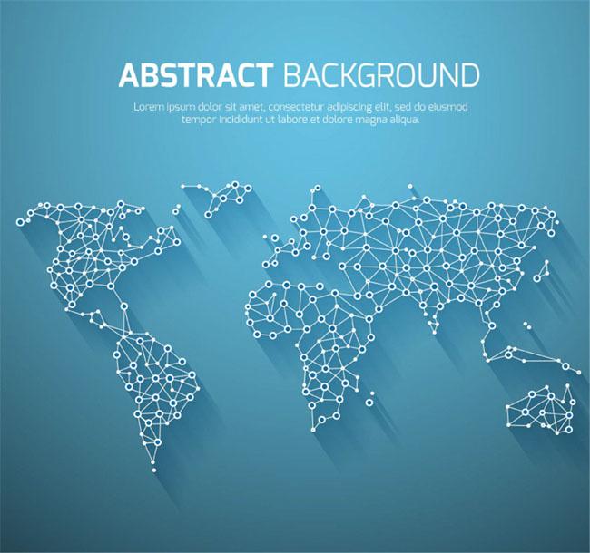创意圆圈点与线构成的蓝色世界地图造型设计