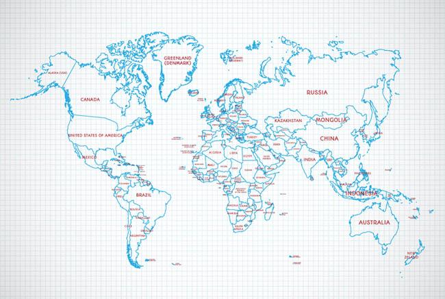 蓝色线条的世界地图田字格的背景设计素材