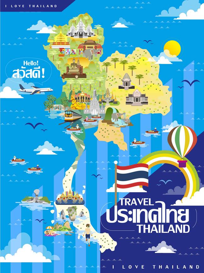 彩色扁平化泰国旅游地图导航设计图素材