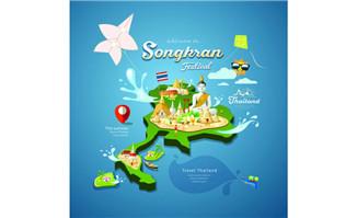 立体模型泰国旅游地图设