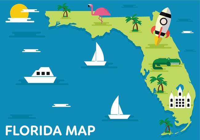 扁平化旅游地图扁平化海洋海岛设计素材