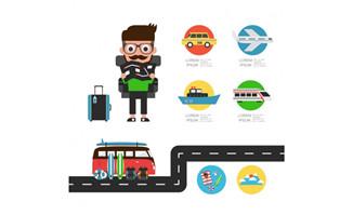 扁平化旅游元素图标设计