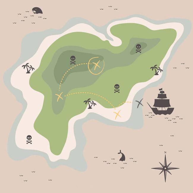 平面岛屿海盗藏宝图地图设计矢量素材