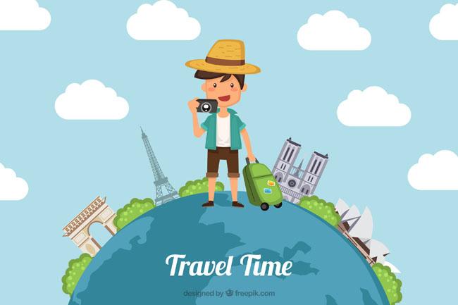 拖着行李,环球旅游,海报设计  环球旅游背景设计  扁平化人物设计图片