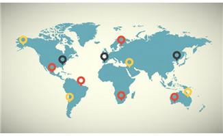 世界地图矢量扁平化位置