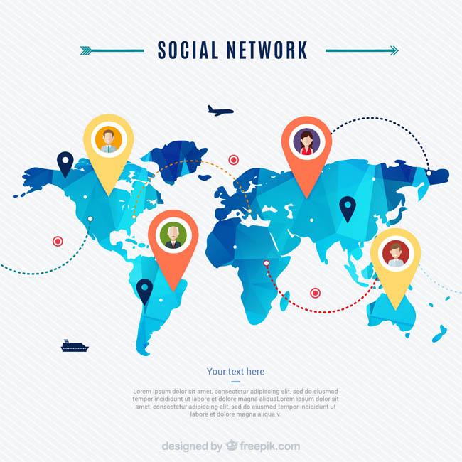 蓝色科技感世界地图背景社交网络系统建立