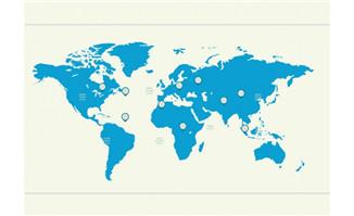 单色的世界地图蓝色调设