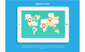 平板电脑上世界地图地区