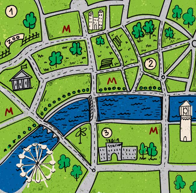 手绘城市,交通路线,建筑规划图设计素材  手绘风格绿色城市地图背景