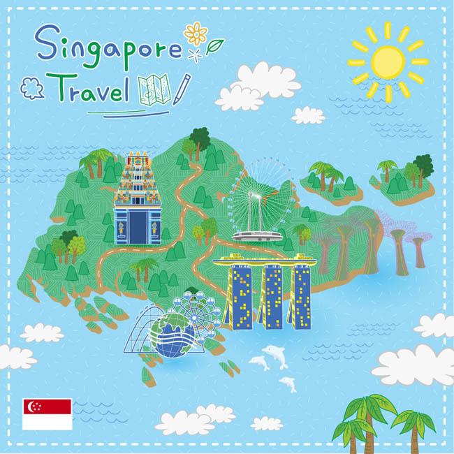 手绘矢量旅游新加坡景点地图圣淘沙海报背景    旅游海报地图设计
