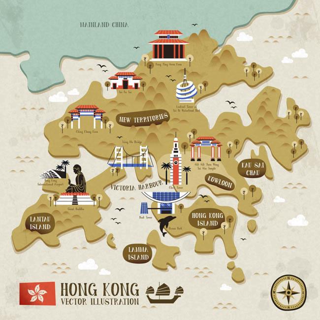 矢量香港旅游地图立体感香港地图设计素材