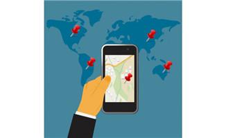 蓝色世界地图背景上手机