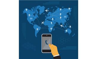 手持手机飞机航行世界地
