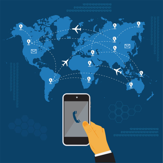 地图商务男人图片   世界地图背景设计  矢量手持手机电话设计素材