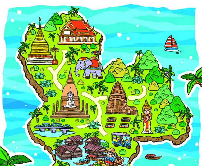 手绘泰国旅游地图设计泰国特色建筑