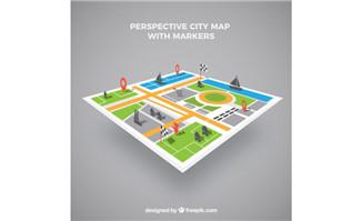 立体平视城市地图上各种