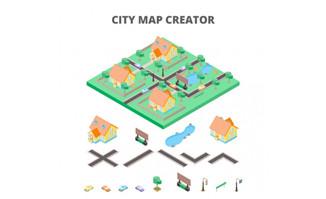等距视图城市地图各种建