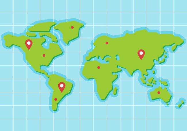 绿色世界地图板块设计矢量素材下载