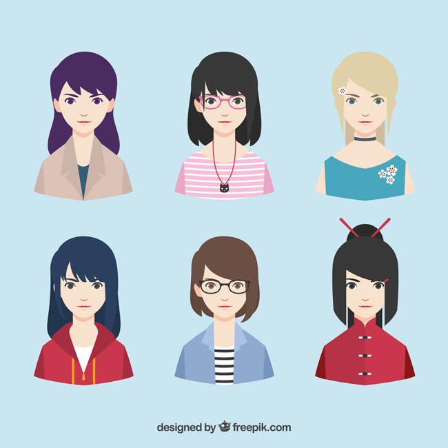 扁平化美女头像职业女孩子卡通动漫头像图标设