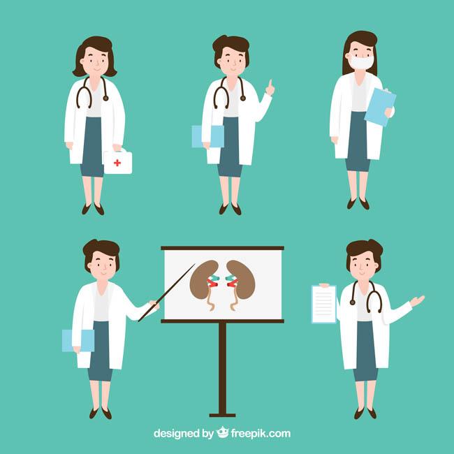 扁平化女医生卡通动漫形象设计动作素材