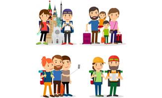 平面各种出行旅游的卡通