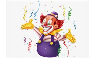 立体感小丑卡通形象彩带素材愚人节主题海报