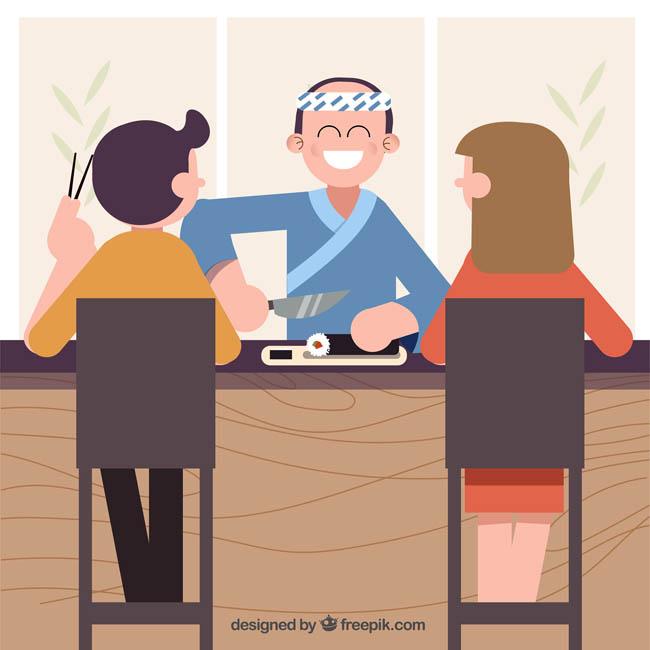 夫妻在一起分享美食寿司的情景设计 扁平化厨师  日本寿司  吃寿司