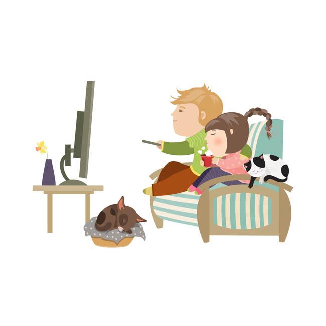 看电视卡通_扁平化卡通动漫儿童在沙发上看电视