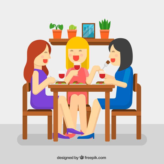 主页 矢量文件 矢量人物 > 几个女孩一起共进晚餐吃饭的场景
