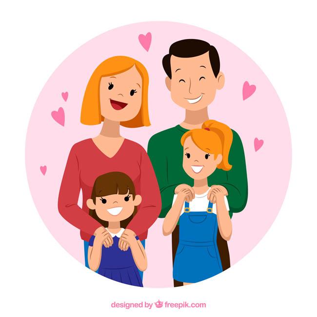 幸福和谐的一家四口卡通动漫形象设计素材