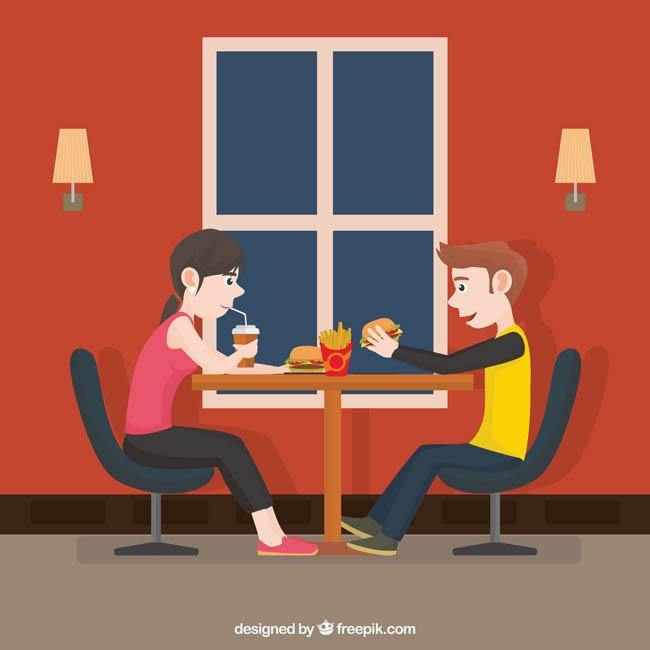 快餐店吃汉堡的卡通扁平化人物形象设计素材