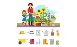园艺工作者的各种工具道