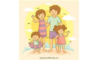 家庭度假旅游的一家人形