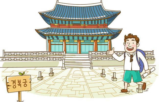 主页 矢量文件 矢量人物 > 手绘旅游漫画人物在古建筑物旁观看的场景