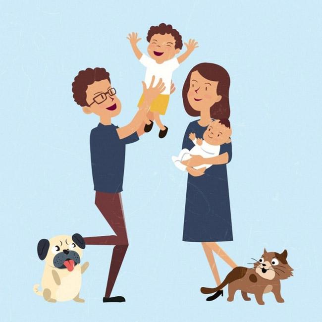 扁平化一家人在一起打闹玩耍的场景  狗卡通形象  爸爸  妈妈  动漫
