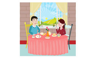 夫妻正在家里享受午餐的