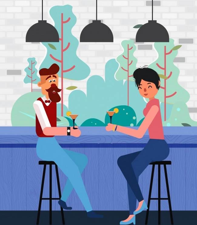 主页 矢量文件 矢量人物 > 酒吧聊天的情侣卡通动漫形象设计矢量素材